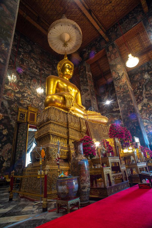 Golden Buddha statue in Wat Suthat Thepphawararam the royal temple of the first grade in Bangkok. Construction of the temple was completed in 1847. Bangkok stock images