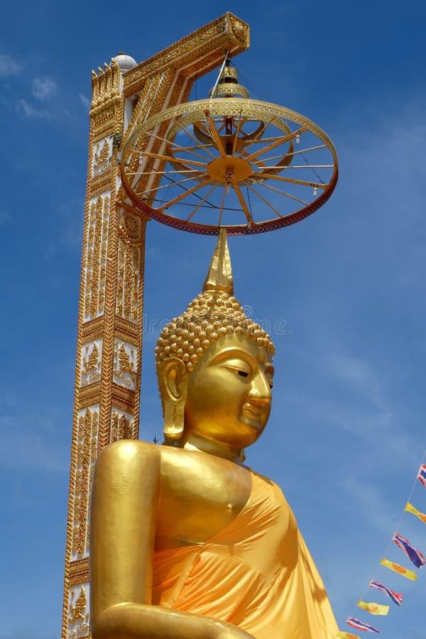 Golden buddha stature. Golden buddha is beauty stature royalty free stock photos
