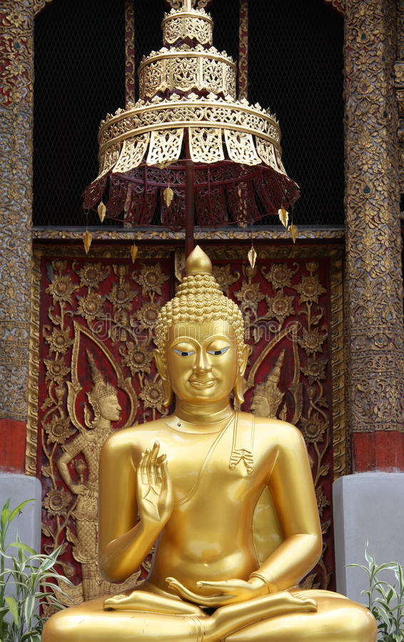 Golden Buddha in Thai temple royalty free stock photography