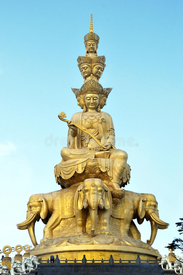 Golden Buddha at the top of Emei hill stock photos
