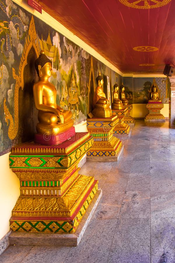 Golden Buddhas of Wat Phra That Doi Suthep temple in Chiang Mai, Thailand stock photography
