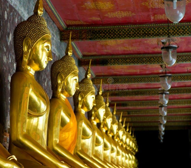 Download Golden Buddhas In Wat Sutat, Bangkok Stock Image - Image: 7454579