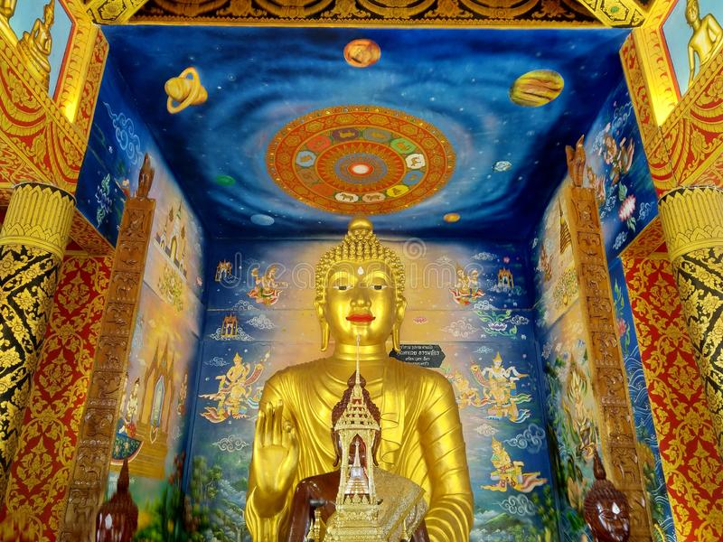 Golden Buddhism at Nan in Thailand royalty free stock images