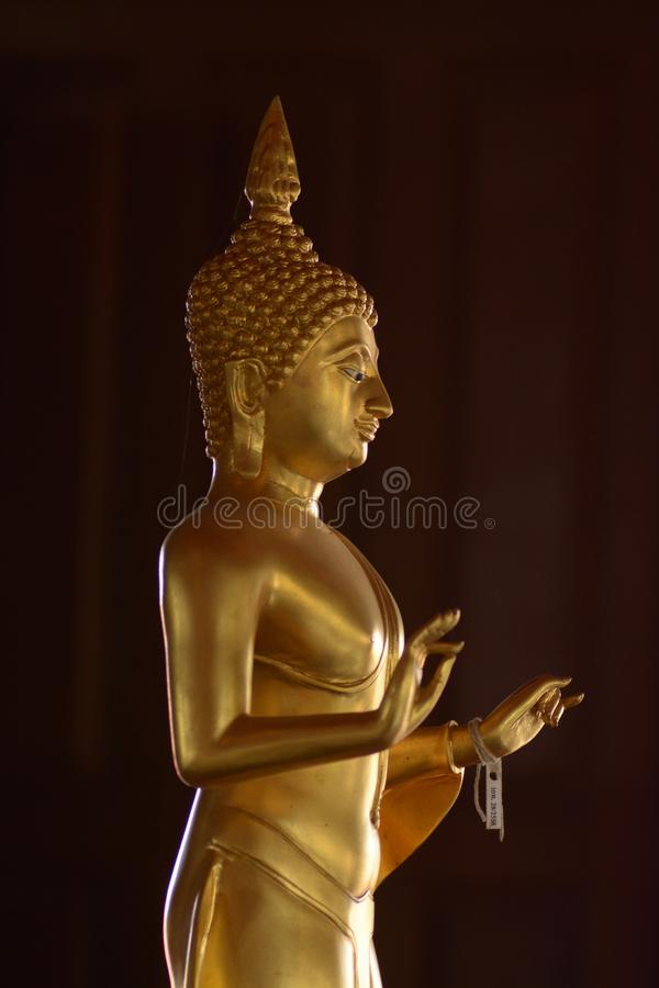 Golden of buddish state in the art style ,Wat Krathum Suea Pla t stock images