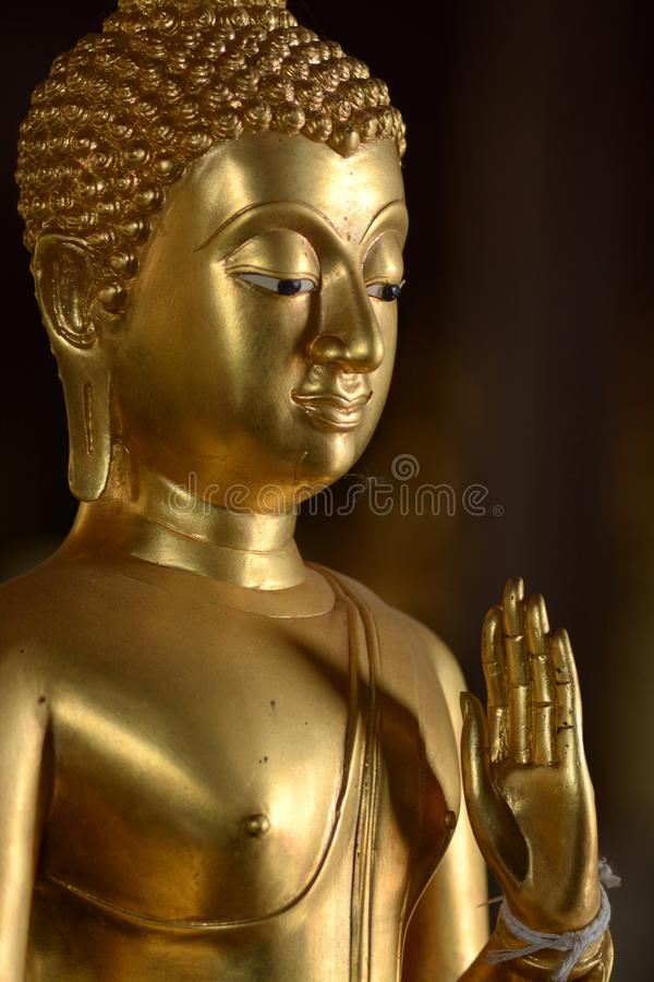 Golden of buddish state in the art style ,Wat Krathum Suea Pla t stock photography