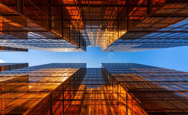 Golden building with blue sky. Windows glass of modern office sk stock photo