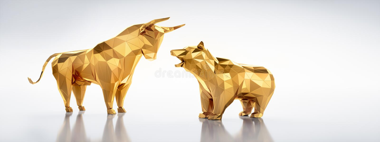 Low poly golden bull and bear - concept stock market vector illustration