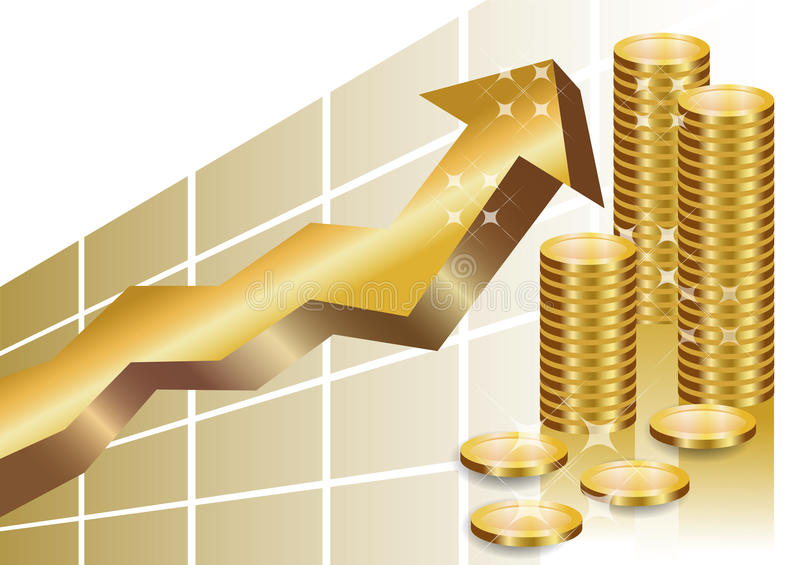 Download Golden Business Graph With Stack Of Coins Stock Illustration - Illustration: 16174118