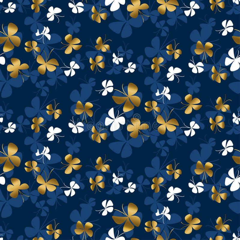 Free Golden Butterfly Silhouette Seamless Pattern Royalty Free Stock Photography - 125148747