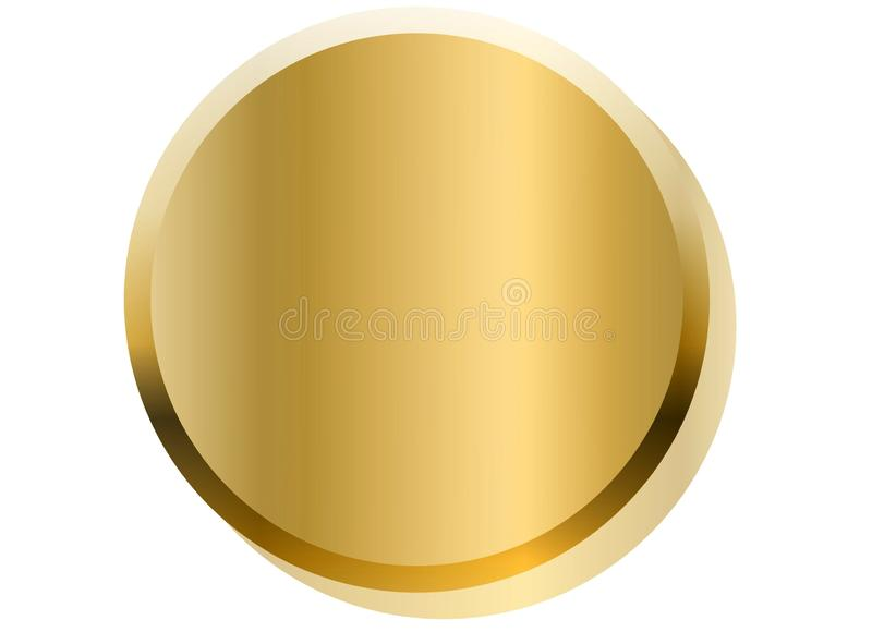 Golden button isolated on white background. illustration design royalty free stock photos
