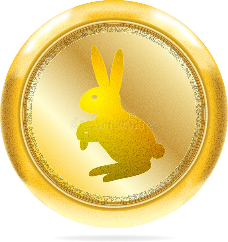 Golden button with rabbit   Isolated royalty free stock images
