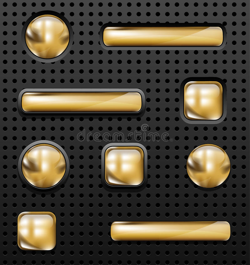 Golden buttons stock illustration