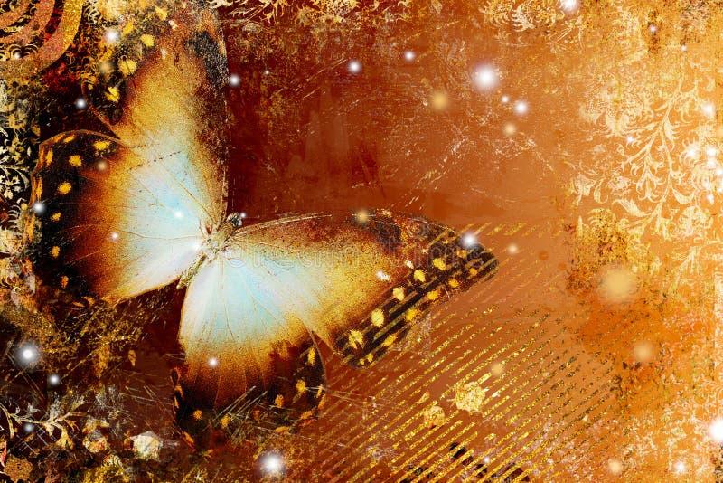 Golden bytterfly stock illustration