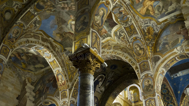 Golden Byzantine mosaics stock photography