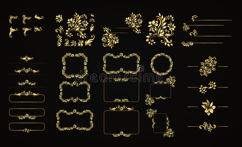 Golden calligraphic vector design elements on the black background. Gold menu and invitation border, frame,divider,page. Decor. Luxury style calligraphic vector illustration