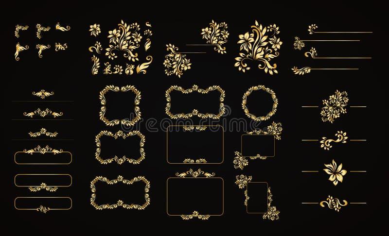 Golden calligraphic vector design elements on the black background. Gold menu and invitation border, frame,divider,page vector illustration