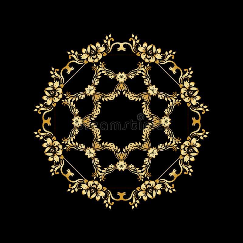 Golden calligraphic vector design elements on the black background. Gold menu and invitation border, round frame,divider stock illustration