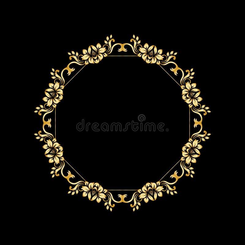 Golden calligraphic vector design elements on the black background. Gold menu and invitation border, round frame, divider stock illustration