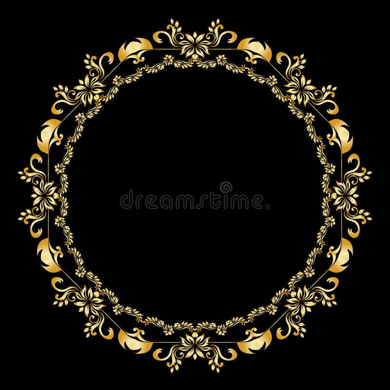 Golden calligraphic vector design elements on the black background. Gold menu and invitation border, round frame, divider. Page decor. Luxury style stock illustration
