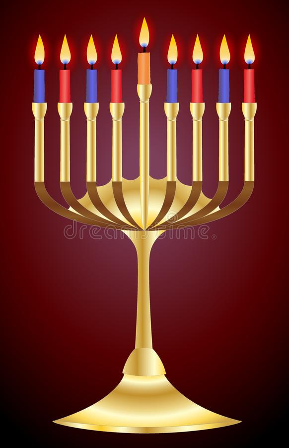 A golden candlestick for the day of Hanukkah stock illustration