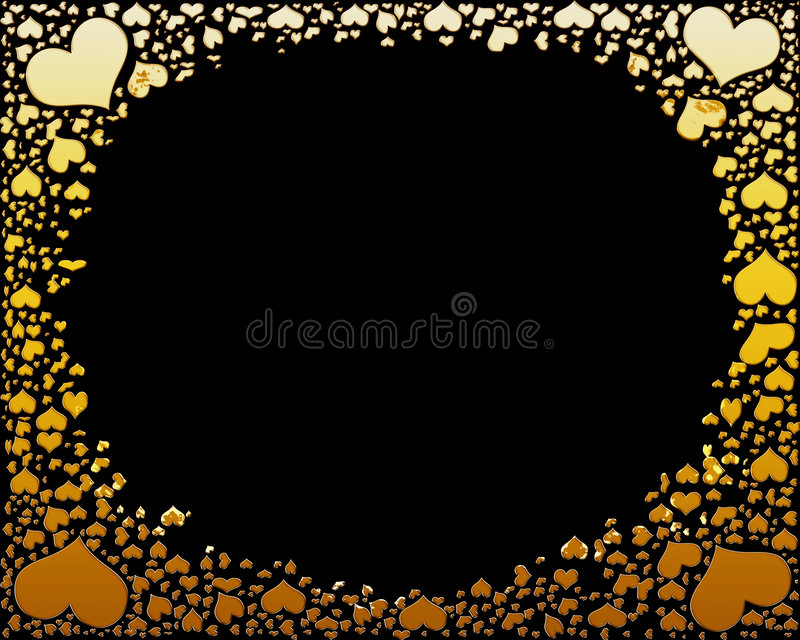 Golden candy hearts frame on black stock images