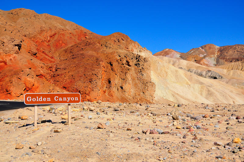 Golden Canyon in Death Valley, Nevada. Golden Canyon mountain in the desert of Death Valley, California and Nevada royalty free stock image