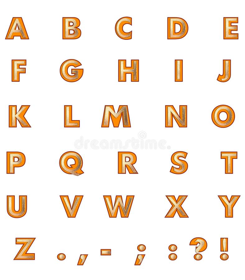 Download Golden Capital Letters stock illustration. Illustration of orange - 26584119