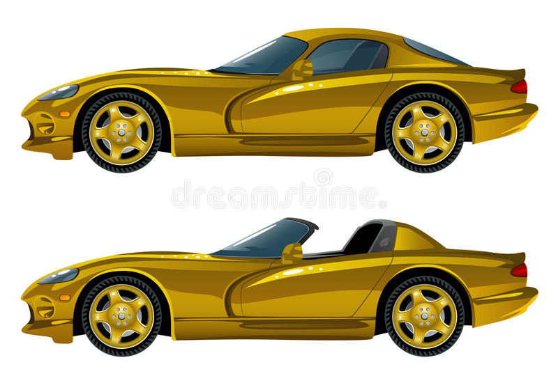 Golden car. On a white background vector illustration