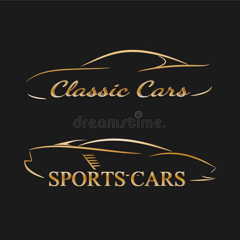 Golden car silhouettes on a dark background royalty free illustration