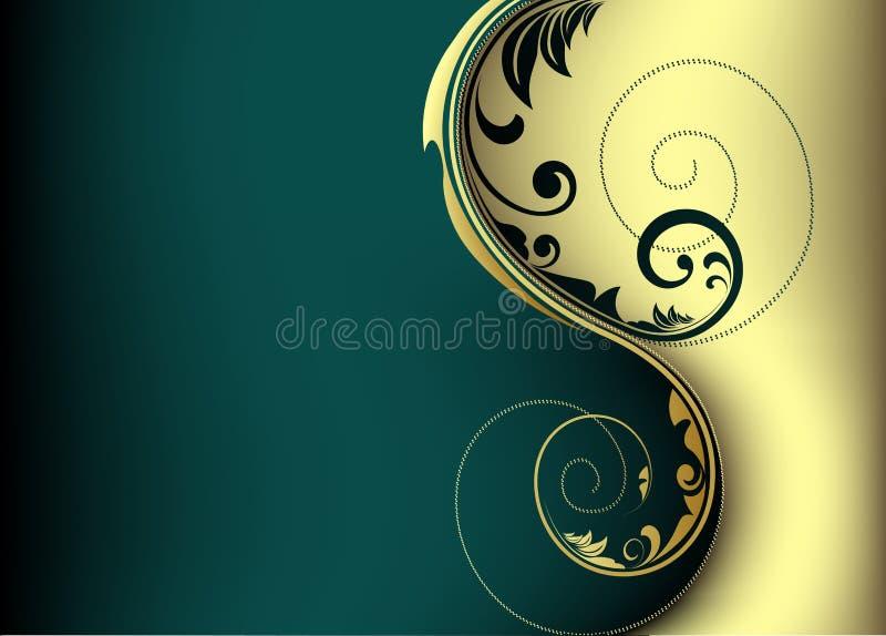 Golden card design. Elegant card design with detailed swirls and waves vector illustration