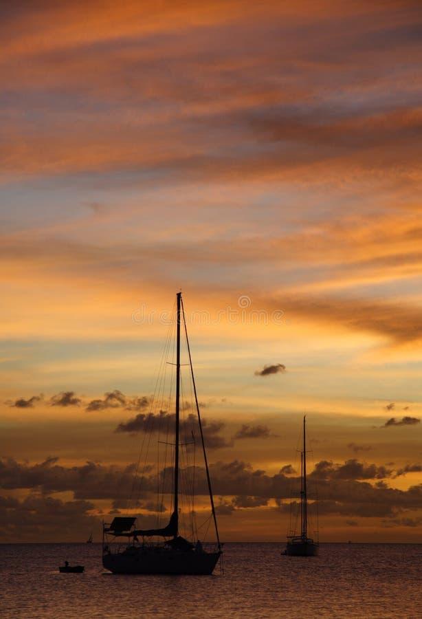 Golden Caribbean Sunset Cruise royalty free stock photo