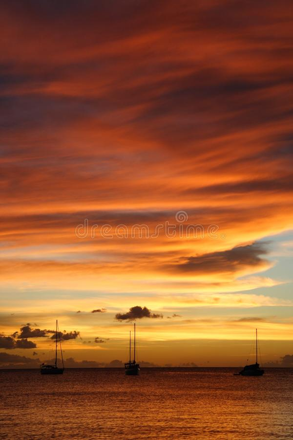 Golden Caribbean Sunset Cruise stock image