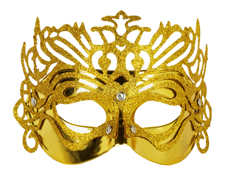 Golden carnival mask isolated on the white background stock photo