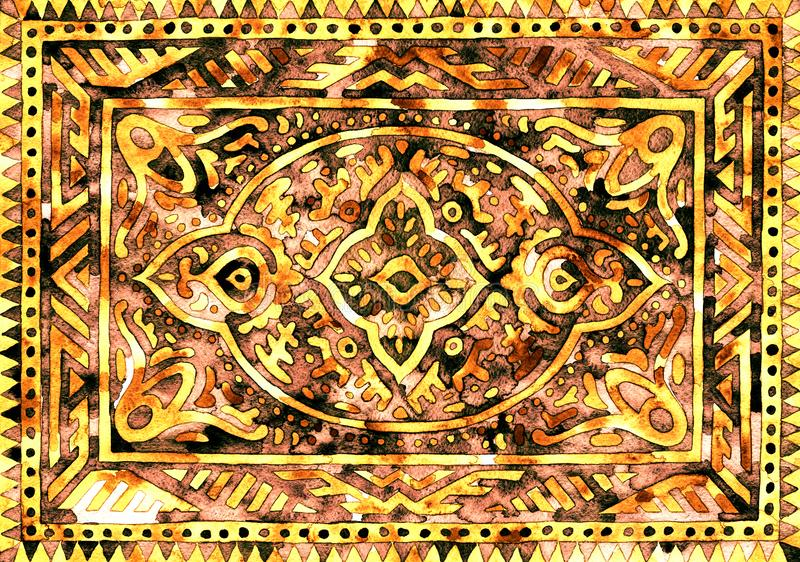 Golden carpet pattern. Hand-drawn watercolor graphics on paper. Print for textiles, postcards. Golden carpet pattern. Hand-drawn watercolor graphics on paper royalty free stock images