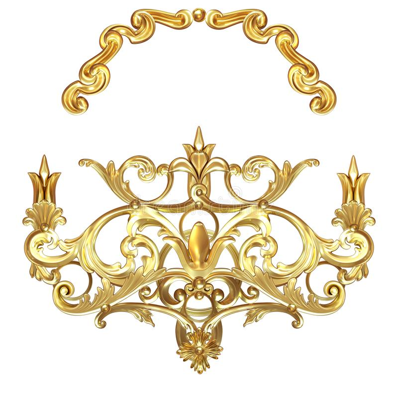 Golden cartouche. 3d illustration set of an ancient gold on a white background royalty free illustration