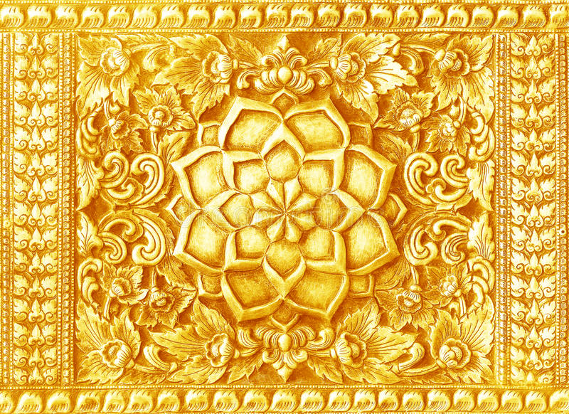 Golden Carving Art On The Walls Temple In Thailand. Stock Image ...