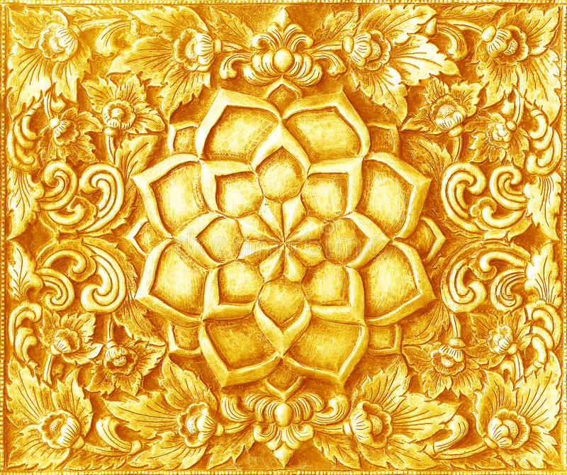 Golden Carving Art On The Walls Temple In Thailand. Stock Photo ...