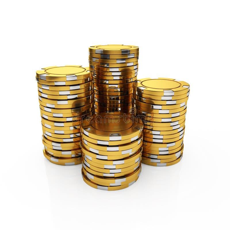 Golden casino chips vector illustration