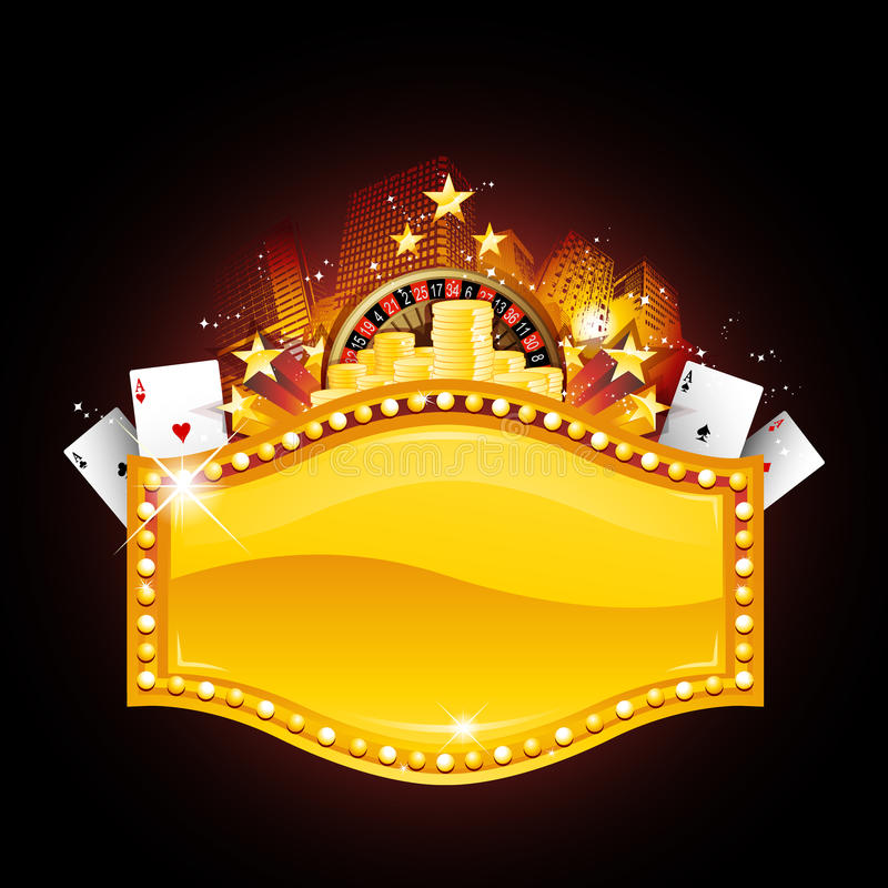 Golden casino sign stock illustration