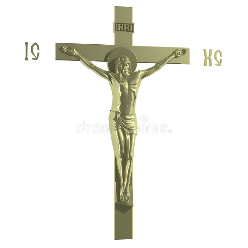 Only Golden Catholic Cross with the Crucifixion. royalty free illustration