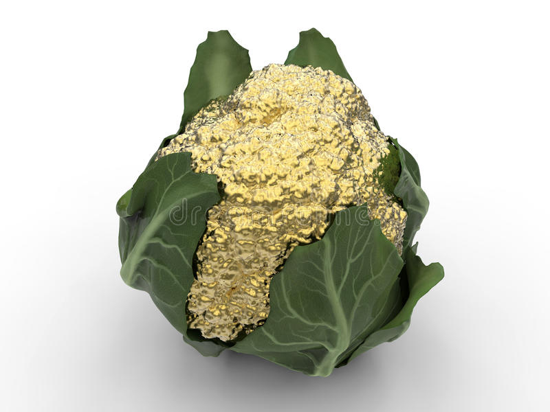 Golden cauliflower. 3D render illustration of a golden cauliflower. The object is isolated on a white background with shadows royalty free illustration