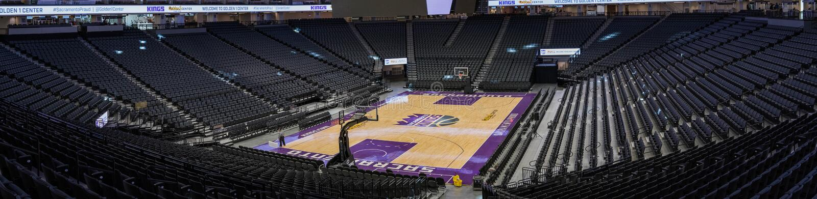 Golden 1 Center Sports Complex 2. Media Day: first look inside the new home of The Sacramento Kings in downtown Sacramento, California panorama stadium seating royalty free stock images
