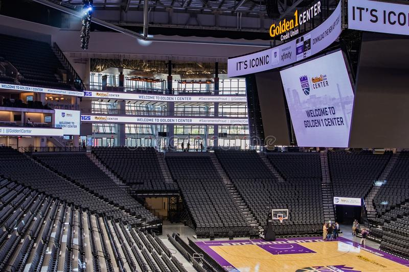 Golden 1 Center Sports Complex 8. Media Day: first look at the interior of Golden 1 Center, the new home of The Sacramento Kings in downtown Sacramento stock images