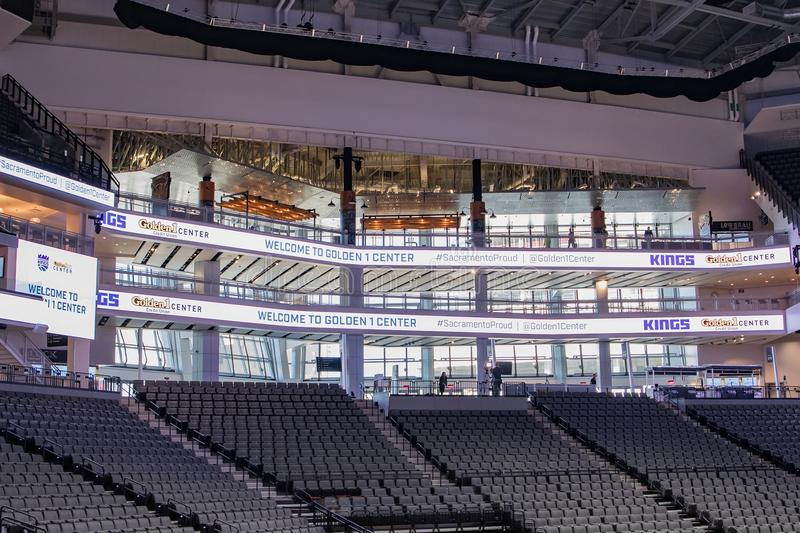 Golden 1 Center Sports Complex 8. Media Day: first look at the interior of Golden 1 Center, the new home of The Sacramento Kings in downtown Sacramento royalty free stock images