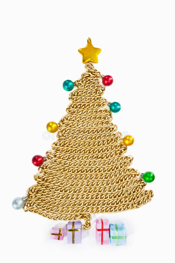 Download Golden Chain Christmas Tree On White Stock Image - Image: 21782667