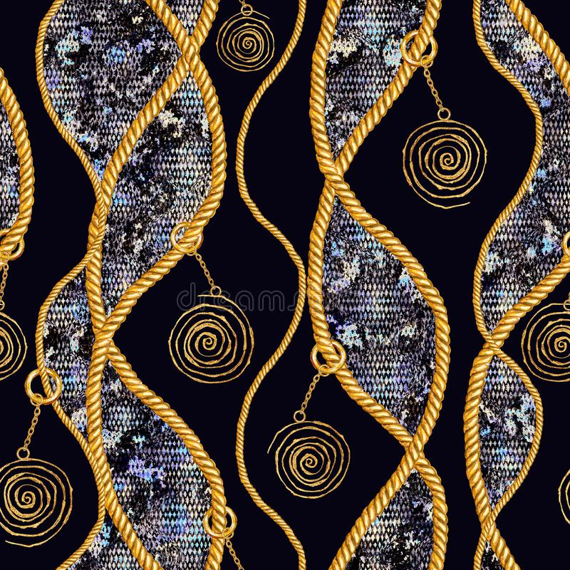 Golden chain glamour snakeskin seamless pattern illustration. Watercolor texture with golden chains. Golden chain glamour snakeskin seamless pattern illustration stock photography