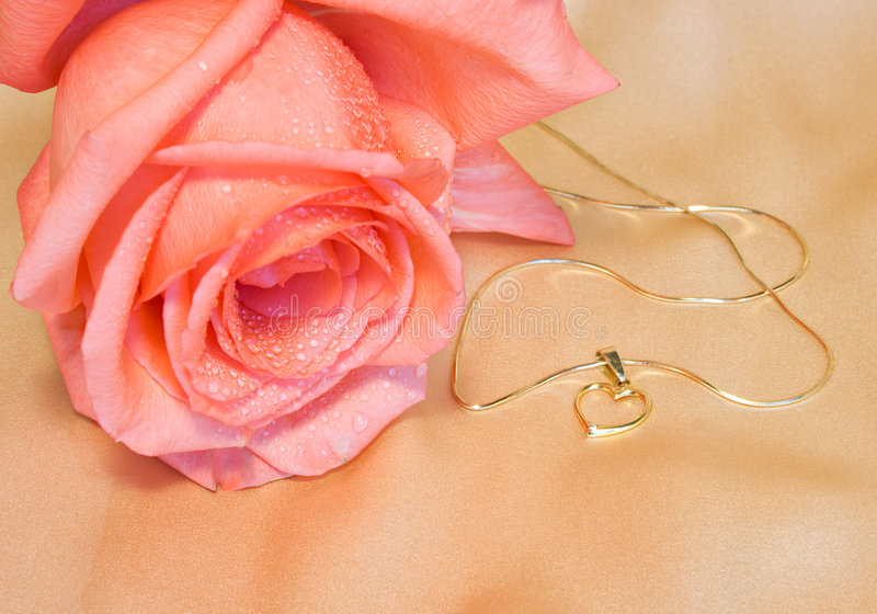 Golden chain with a heart and pink rose stock photography