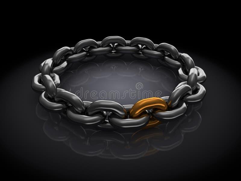 Golden chain link stock illustration