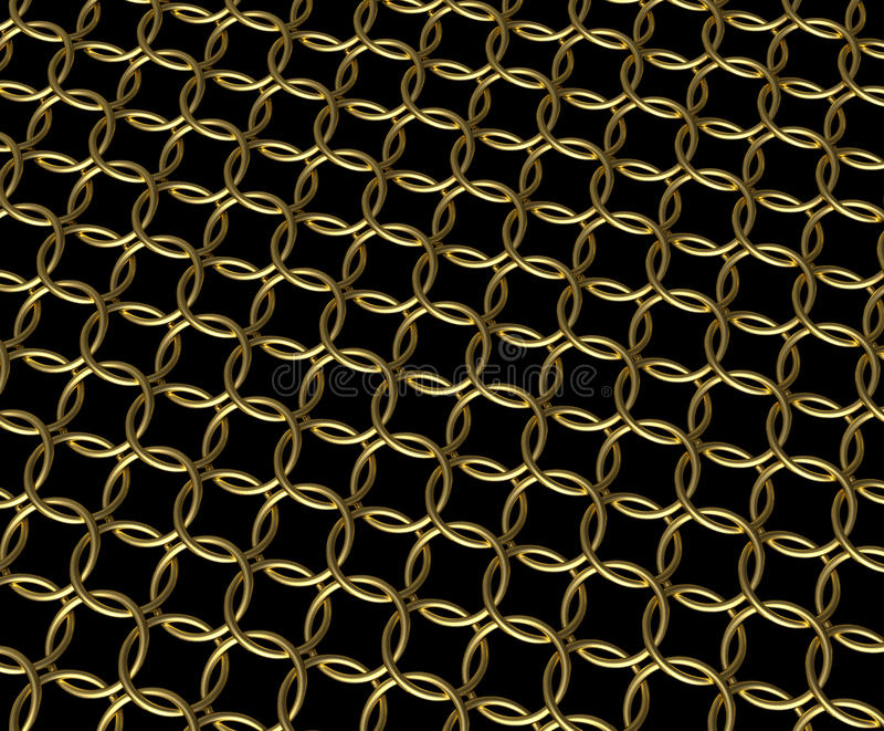 Gold Mail: Golden Chain Mail Ring Pattern Stock Image