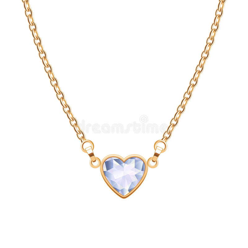 Golden chain necklace with heart diamond pendant vector illustration